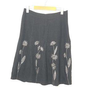 Laura Petites   Black Floral Embroidered Skirt 6